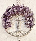 Amethyst Gemstone Tree of Life Sun Catcher with Crystal Ball Prism,Handmade Window Ornament,Feng Shui Ornament