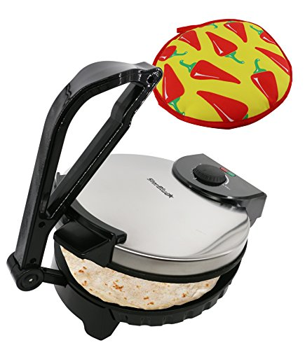 10inch Roti Maker by StarBlue with FREE Roti Warmer - The automatic Stainless Steel Non-Stick Electric machine to make Indian style Chapati, Tortilla, Roti AC 110V 50/60Hz 1200W ()