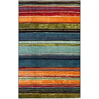 26x310 Blue Orange Red Olive Green Horizontal Rainbow Stripes Printed Runner Rug, Indoor Graphical Pattern Living Room Rectangle Carpet, Graphic Art Themed, Vibrant Color Soft Synthetic Material
