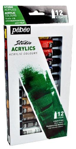 - Pebeo Studio Acrylics High Viscosity, Fine Acrylic, Set of 12 x 12 ml Tubes