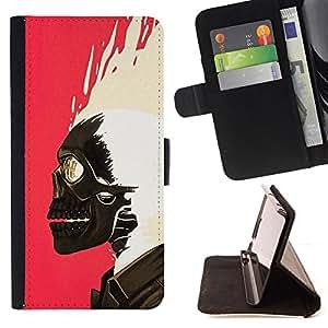 BullDog Case - FOR/Apple Iphone 5C / - / SKULL PAINT PINK WHITE BIKER PINK /- Monedero de cuero de la PU Llevar cubierta de la caja con el ID Credit Card Slots Flip funda de cuer
