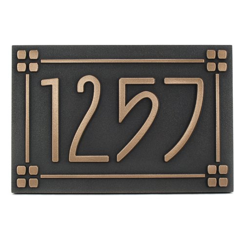 Arts and Crafts Style Address Plaque with Lines 12x8 - USA Made - Raised Bronze Coated by Atlas Signs and Plaques