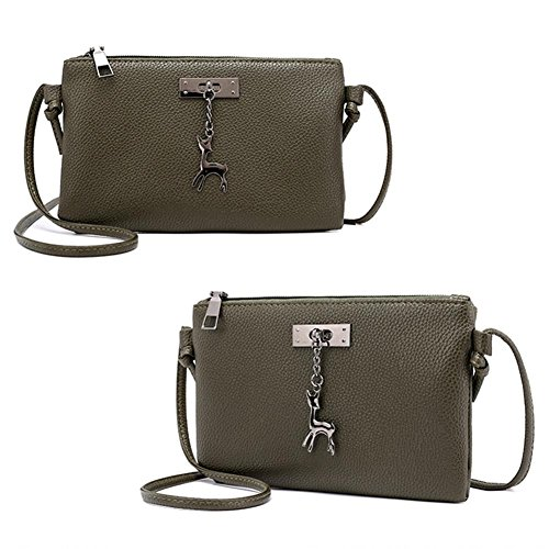 Zipper Green Handbag Army Bag Leather PU Girl Envelope Crossbody Casual Everpert Shoulder Women 7qB7Fd
