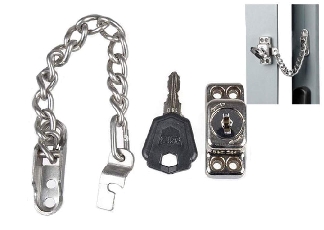 Stainless Steel Window Guard Window Door Restrictor Child Safety Security Chain Lock With Keys