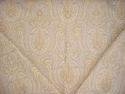 209H12 - Golden Yellow / Taupe / White Persian Paisley Floral Medallion Kilim Tapestry Drapery Upholstery Drapery Fabric - By the Yard - Paisley Chenille Tapestry Fabric