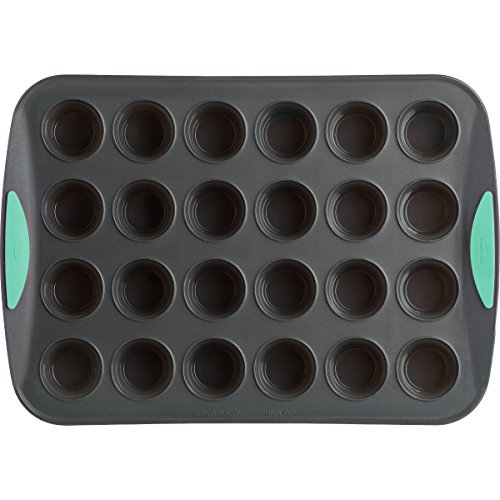 Trudeau Grey Silicone 24 Count Mini Muffin Pan with Mint Accent