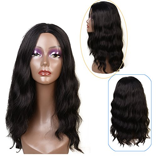 Feibin Synthetic Wigs For Black Women Natural Wavy Style Black Color 20
