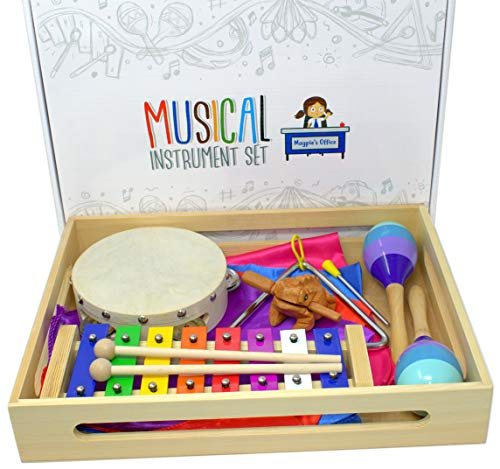 Magpie's Office Children's Wooden Musical Instrument Set - in Tune Glockenspiel (Xylophone), Maracas, Tambourine, Sheet Music, Dance Scarves, Frog Guiro Tone Block and More - Learn to Play Music (Best Musical Instrument For Child To Learn)