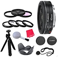 Canon EF 40mm f/2.8 STM Lens & Accessories for Canon EOS Rebel T5, T5i, Sl1, T6, T6i, T6s, 7D Mark II, 60D, 70D, 80D, 6D, 5D Mark III Digital SLR Cameras - International Version (No Warranty)