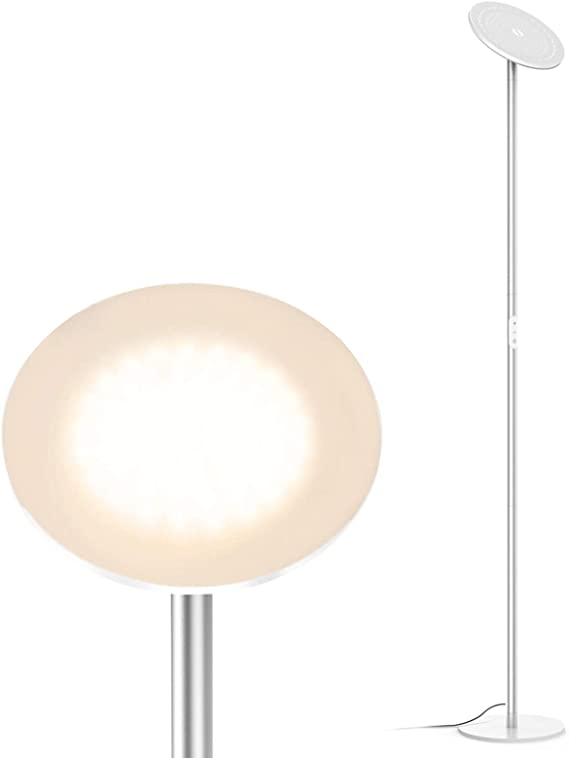 Amazon Com Trond Led Torchiere Floor Lamp Dimmable 30w 3000k Warm White 71 Inch Tall Modular Rod Design 30 Minute Timer Wall Switch Compatible For Living Room Bedroom Office Silver Home Improvement