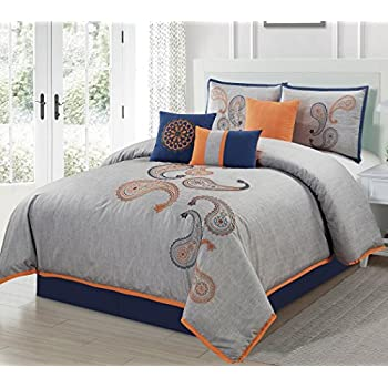 Merveilleux Chezmoi Collection Naomi 7 Piece Navy Orange Paisley Floral Embroidery Comforter  Bedding Set (Queen