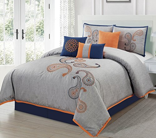 Chezmoi Collection Naomi 7-Piece Navy Orange Paisley Floral Embroidery Comforter Bedding Set (California King) - Blue Garden Bed Ensemble