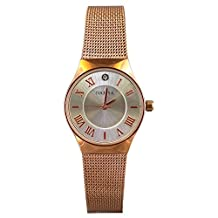 KTC Nafisa Women's Small Silver Dial Stainless Steel Rose Gold Mesh Chain Strap Wrist Watch NA-0095