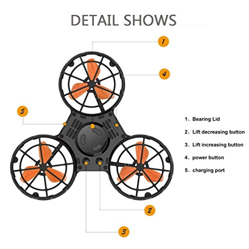 ROHSCE Novelty Tiny Flying Drone Toys, ADHD Relieving Reducer 4 Mode Playing Optional Fidget Rotation Triangle Toys Funny Drone Interactive Games for Kids Adults (Black) by ROHSCE (Image #2)