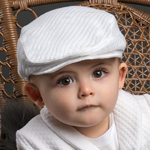 - Elijah Baby Boy Quilted Christening and Baptism Newsboy Hat Soft White