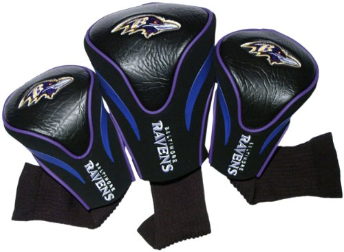 Team Golf NFL Baltimore Ravens Contour Golf Club Headcovers (3 Count), Numbered 1, 3, & X, Fits Oversized Drivers, Utility, Rescue & Fairway Clubs, Velour lined for Extra Club Protection