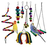 PETUOL Bird Parrot Toys, 7 Packs Bird Swing Chewing Hanging Perches with Bells Finch Toys for Pet Parrot Lovebird Howl Budgie Cockatiels Macaws Finches and Other Small Medium Lorikeets Birds