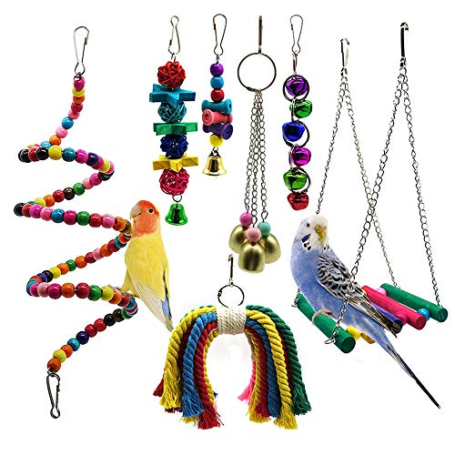 PETUOL Bird Parrot Toys, 7 Packs Bird Swing Chewing Hanging Perches with Bells Finch Toys for Pet Parrot Lovebird Howl Budgie Cockatiels Macaws Finches and Other Small Medium Lorikeets Birds from PETUOL