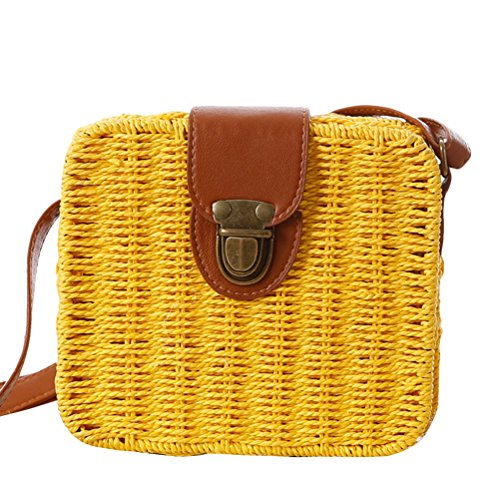 Zhhlaixing Casual Korean Style Messy Woven Bag Small Square Box Simple Beach Bags Candy Color Bolsa hermosa especial for Women Yellow