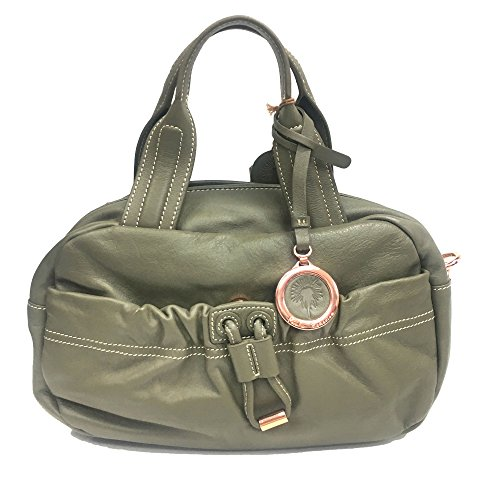 Leather Logo Plaque - Small Satchel Bag, Design by Paolo Federico 100% Soft Leather, Logo Plaque Decore-Green