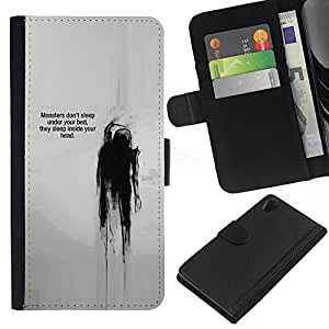 KingStore / Leather Etui en cuir / Sony Xperia Z2 D6502 / Cita Pensamiento Jefe Mental;