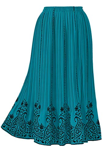 - AmeriMark Border Print Pleated Skirt Plus Size