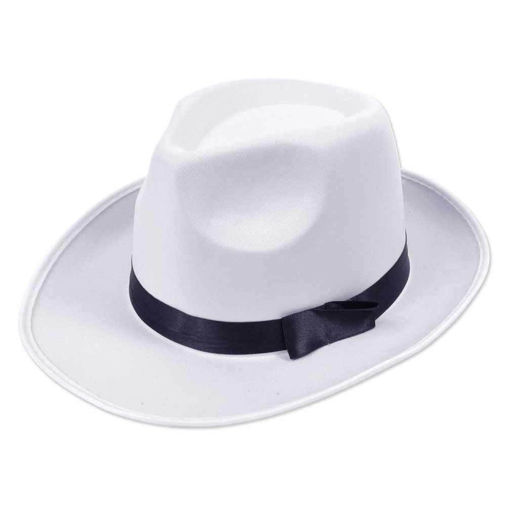 Bristol Novelty Gangster Hat. White Satin Finish Hats - Men's - One Size BH492
