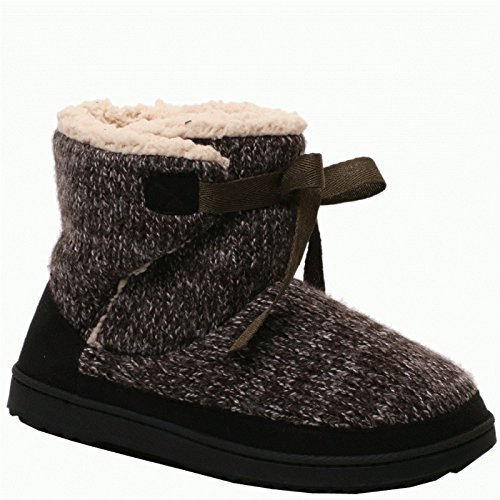 Dearfoams Marled Strikk Tie-front Boot 50619 Svart