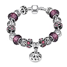 Star Jewelry Carved Charms Bracelet For Girls and Women Silver Plated Glass Bead Snake Chain