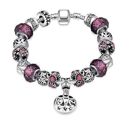 Naivo Designer Inspired Crystal Snake Chain Murano Glass Beads Charm Bracelet, Women of the World (Amethyst Murano Bracelets)