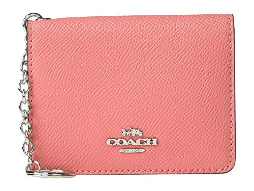COACH Women's Crossgrain Key Ring Card Case Bright Coral/Silver One Size