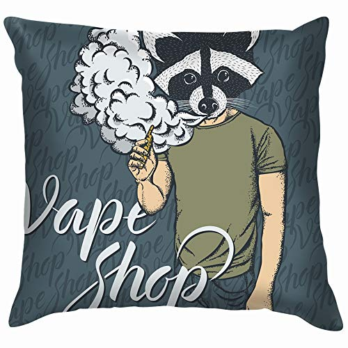 Raccoon Vape Concept Smoking Animals Wildlife Trendy Throw Pillows Covers Accent Home Sofa Cushion Cover Pillowcase Gift Decorative 20X20 Inch]()