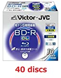 40 Victor JVC BD-R DL 50GB 4x Blu-ray Dual layer printable 40pack Region Free (Japan Import)