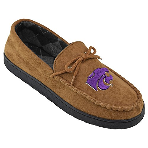 College Edition NCAA Kansas State Wildcats Men's Moccasin Team Logo Slippers, Size 8, -