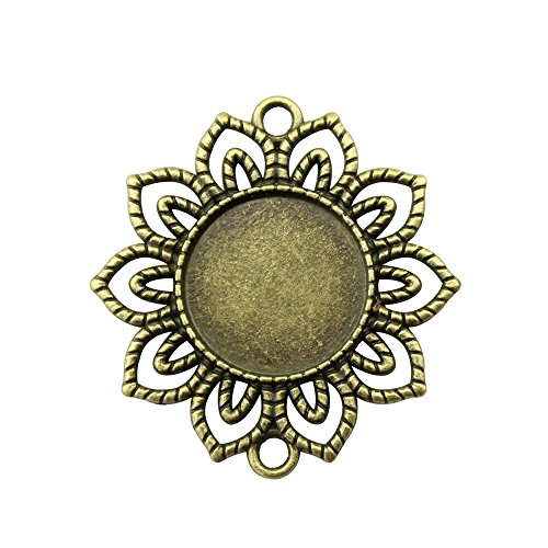- NEWME 10Pcs 18mm Round Inner Size Antique Bronze Planted Flower Connector Single Side Double Hanging Cabochon Base Blank Tray Cameo Setting Necklace Bracelet Pendant Charms