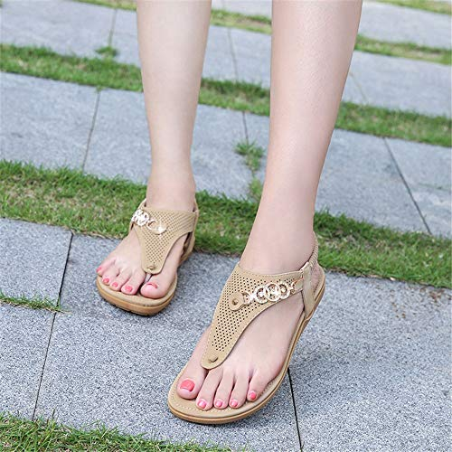 De Boho Salón De Mujer Verano De Beige para Diamantes De Zapatillas Sandalias De Imitación Playa OSq1xwROd