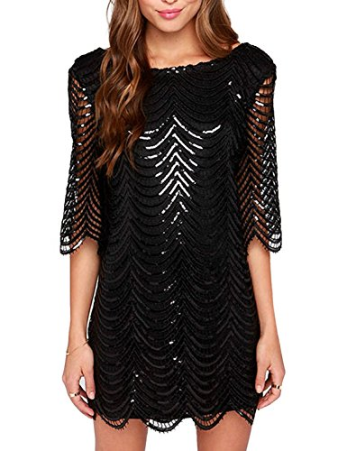 HAOYIHUI Women's Sparkly Wave Metallic Sequin Half Sleeve Party Dress (X-Large, Black) -