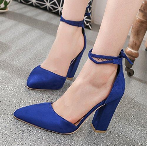 Chaussures Bleu pieds femmes à hauts Talons épais taille Shallow épais Couleur LBDX de pour Sandales Europe Amérique Noir 38 talons et Brides mouth vwpZqB