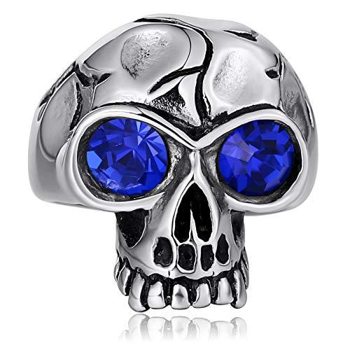 Epinki Acero Inoxidable Anillos de Hombre Cráneo Anillos para Hombre Gótico Anillo de Confianza con Azul óxido de Circonio...