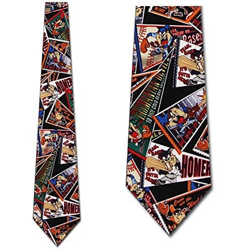 Baseball Taz Tie - Mens Looney Tunes Necktie ()