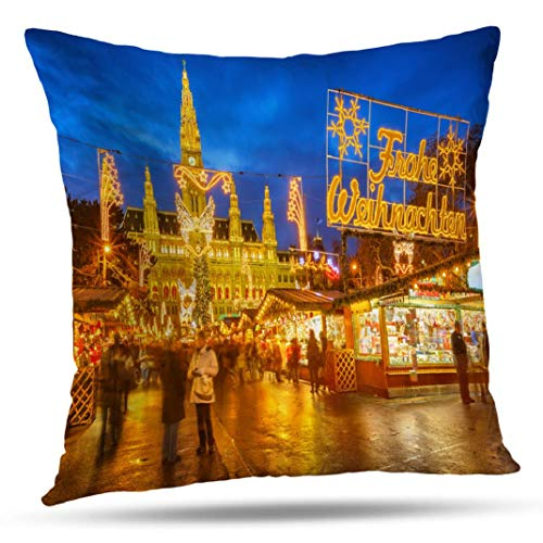 Alricc Traditional Christmas Market Vienna Europe Decorative Throw Pillows Cushion Cover for Bedroom Sofa Living Room 18X18 Inches