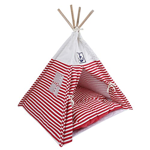 Jinshou Pet Teepee Pet House Tent Removable Dog Cat Bed with Mat Red Review