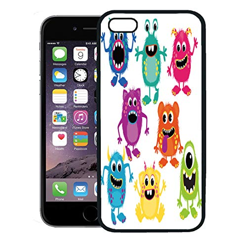 Semtomn Phone Case for iPhone 8 Plus case,Cartoon Fluffy Monsters Cute Little Kid Alien Birthday iPhone 7 Plus case -