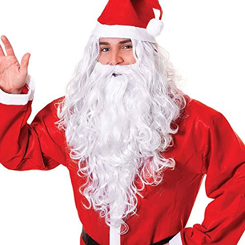 [WTB Hair 12 '' Santa Wig and Beard Set Costume Accessory] (Synthetic Santa Costumes Beard And Wig Set)