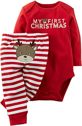 [Carter's Baby Boys' Christmas 2-Piece Bodysuit & Pant Set (3 Months, Red Reindeer)] (Christmas Outfit)