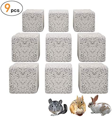S-Mechanic 9Pcs Hamster Chew Toy Lava Square Stone Teeth Grinding Toys Mineral Stone Chew Toy for Hamsters Chinchillas Rabbits and Other Small Animals