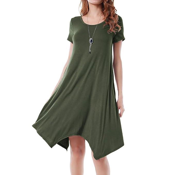 8cc3fb4b65f Women Ladies Solid Pocket Round Neck Short Sleeve Dress  Amazon.co.uk   Clothing