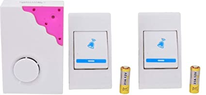 Pithadai Musical Sound Cordless Doorbell, Wireless Remote Control Door Calling Bell (Pink)