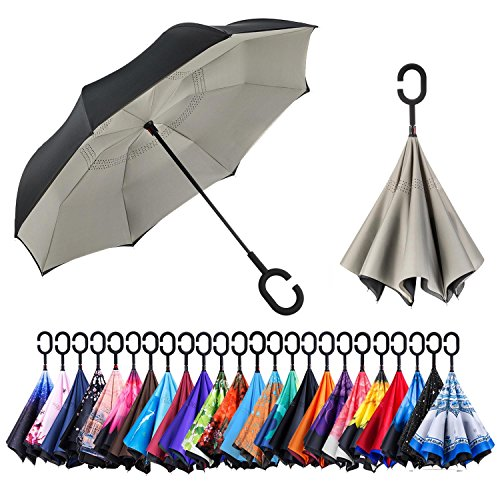 Newsight Reverse/Inverted Double-Layer Waterproof Straight Umbrella, Self-Standing & C-Shape Handle & Carrying Bag for Free Hands, Inside-Out Folding for Car Use (Grey)