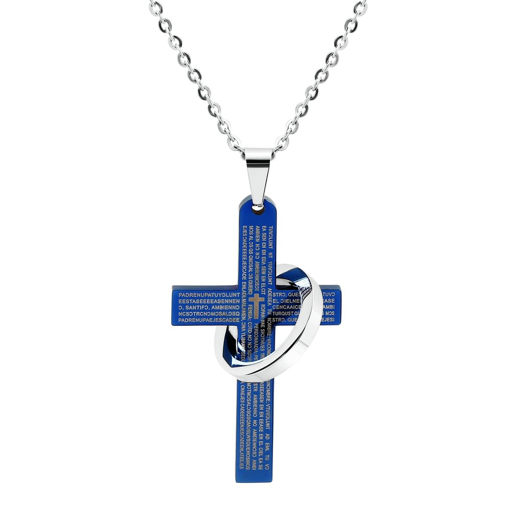 MoAndy Stainless Steel Lords Prayer Cross Halo Pendant Necklace for Men